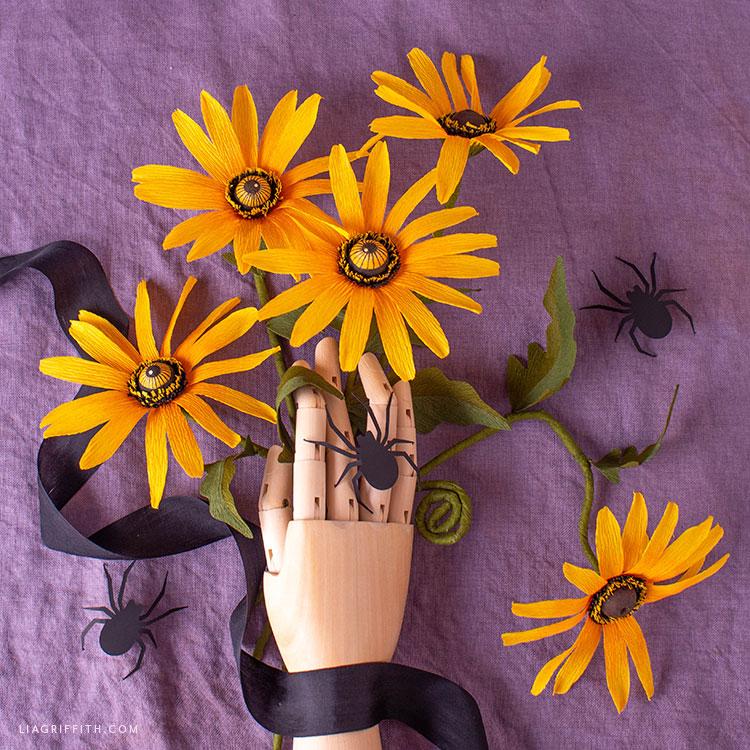crepe paper black eyed Susan flowers