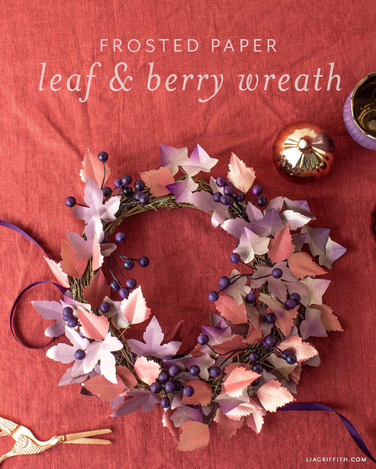 frosted paper leaf and berry wreath