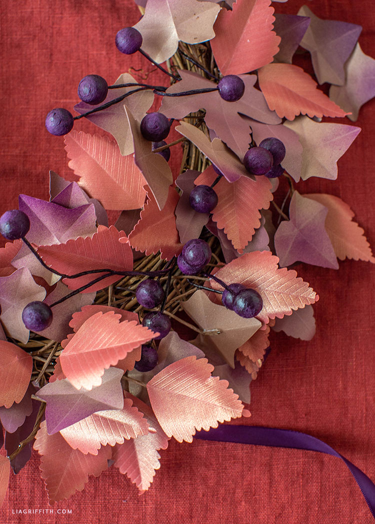 frosted paper leaves and berries for DIY fall wreath