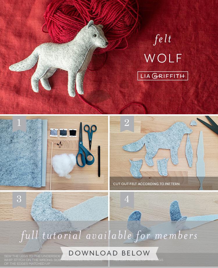 Felt wolf photo tutorial by Lia Griffith