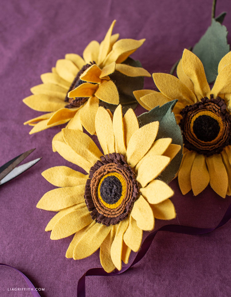 handmade felt sunflowers
