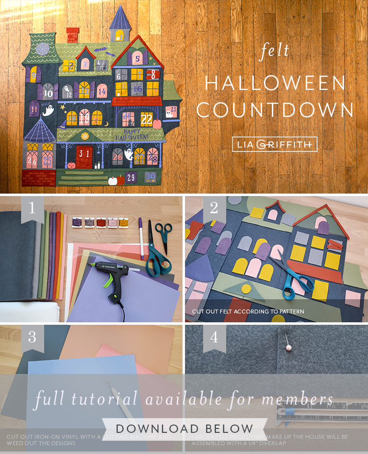 Photo tutorial for felt Halloween countdown by Lia Griffith