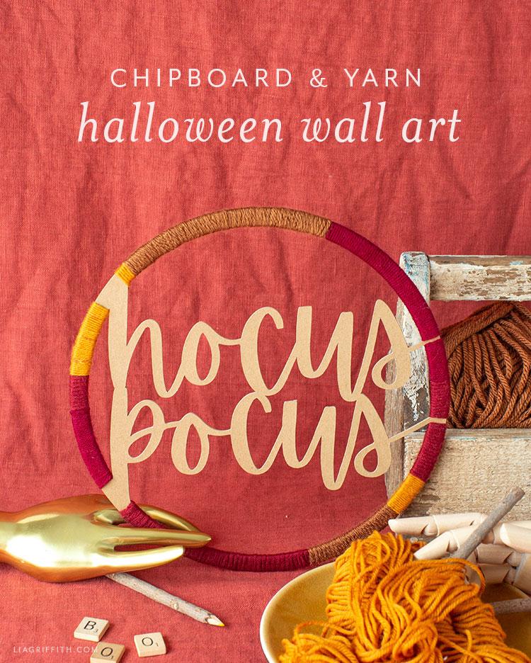 chipboard and yarn Halloween wall art