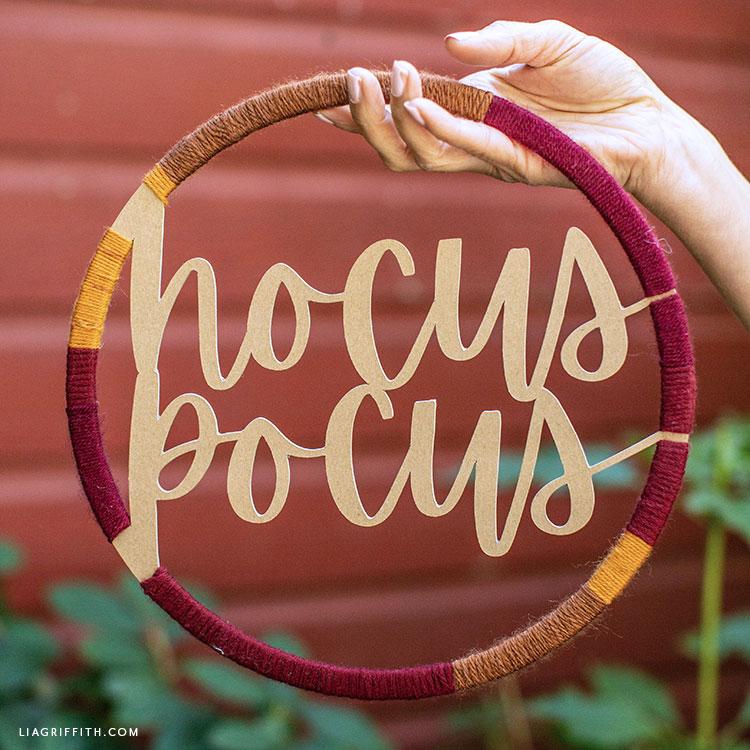 Hocus Pocus chipboard and yarn wall decor