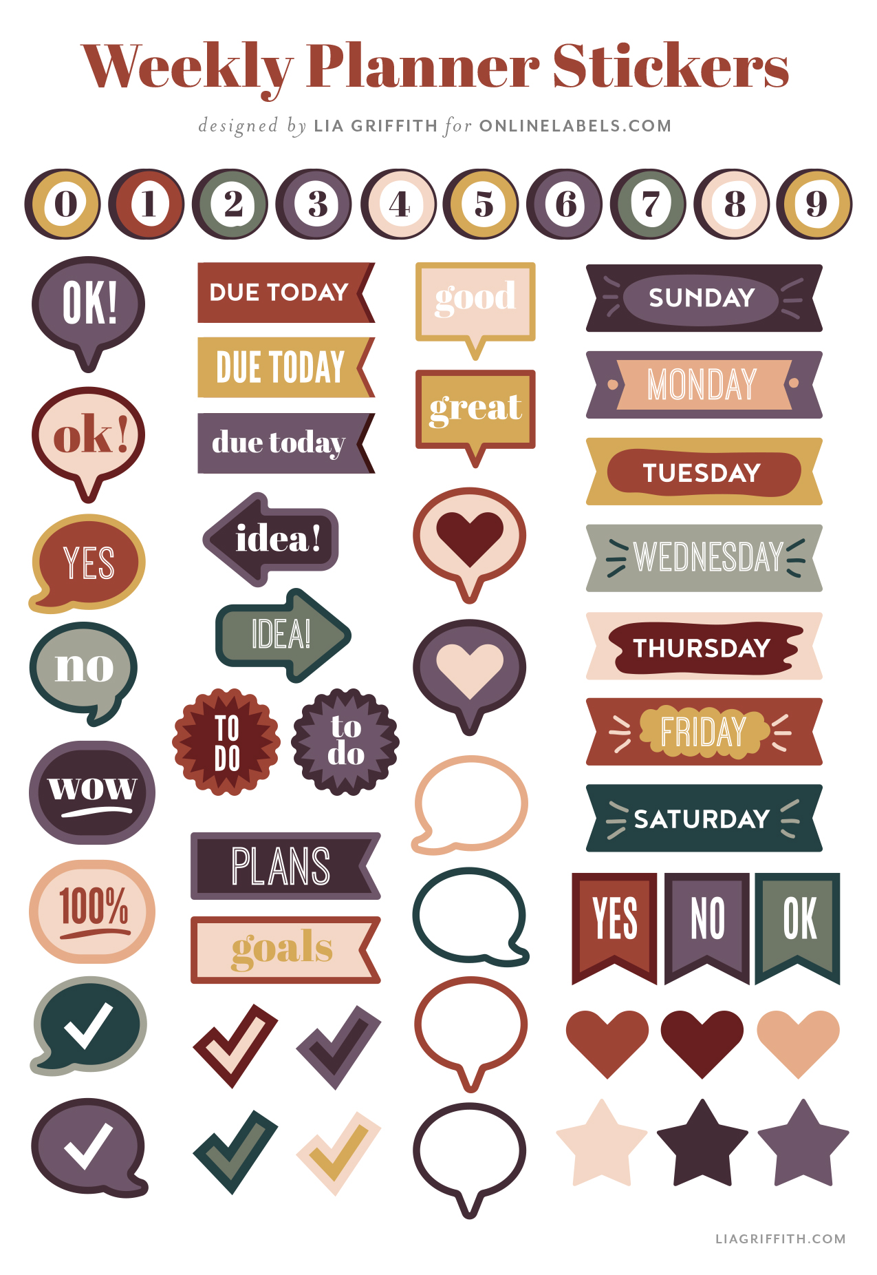 weekly planner stickers by Lia Griffith for Online Labels