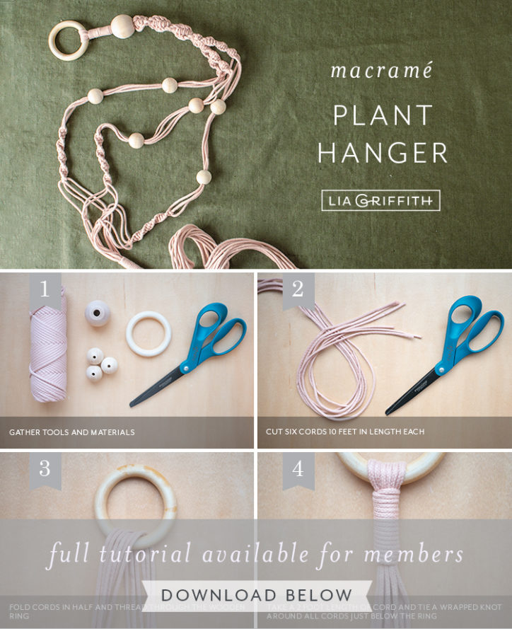 Photo tutorial for macrame plant hanger by Lia Griffith