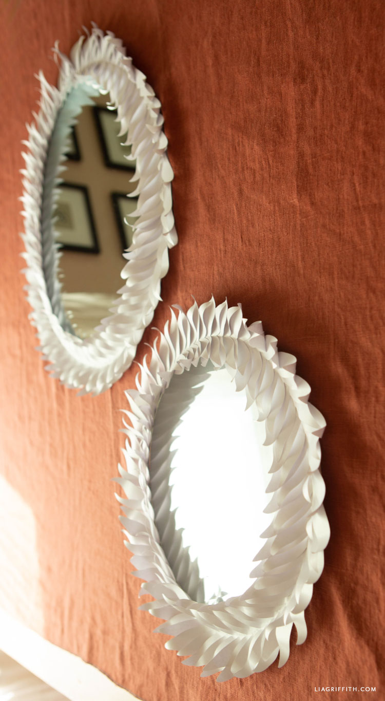 DIY frosted paper leaf mirrors