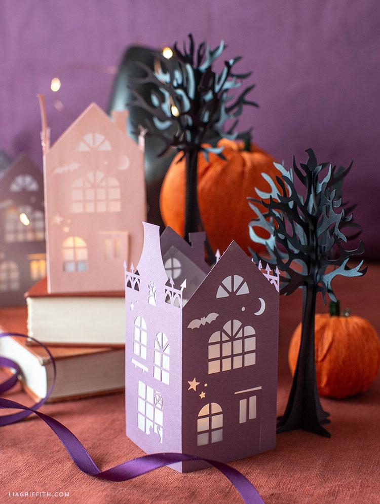 papercut Halloween houses