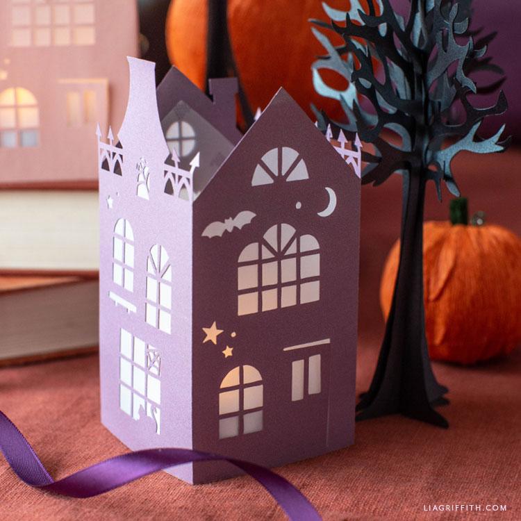 papercut Halloween house illuminary