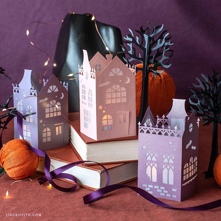 papercut Halloween house lanterns