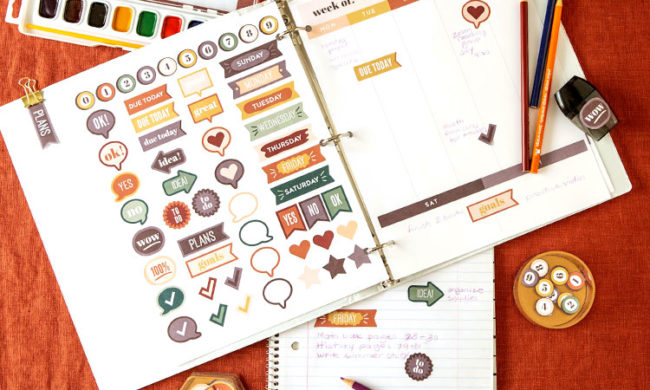 printable planner stickers and weekly planner printable