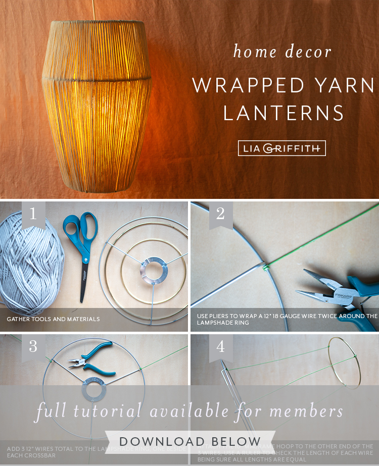 DIY home decor wrapped yarn lantern tutorial by Lia Griffith