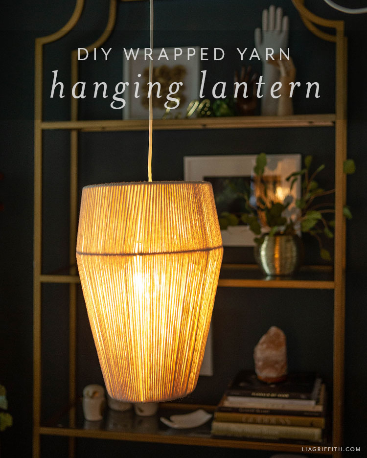 DIY wrapped yarn hanging lantern