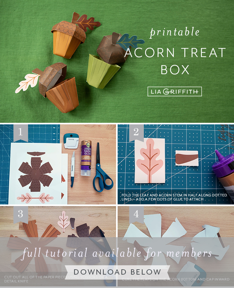 photo tutorial for printable acorn treat box by Lia Griffith