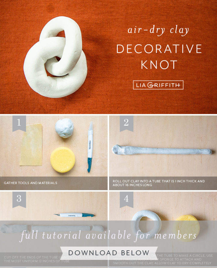 Photo tutorial for air-dry clay decorative knot by Lia Griffith