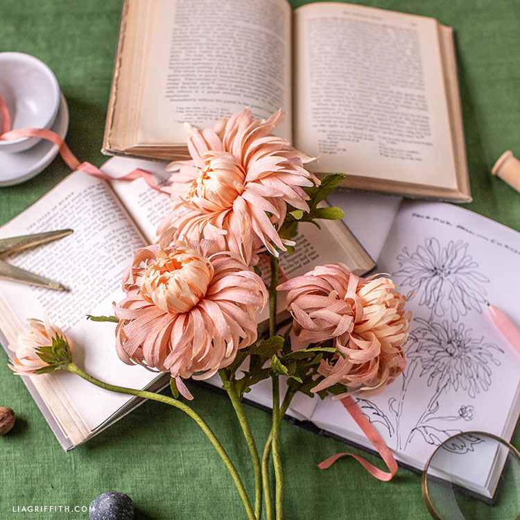 pink crepe paper chrysanthemums