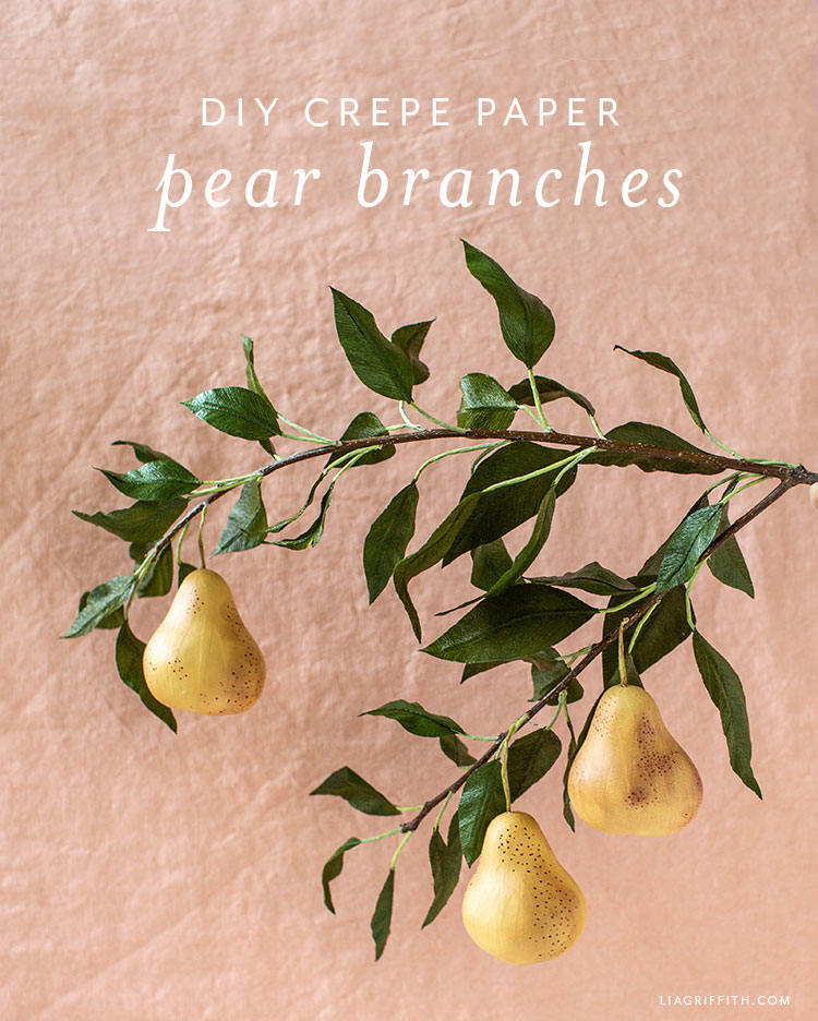 DIY crepe paper pear branches
