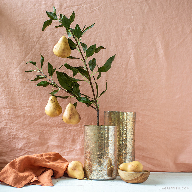 DIY crepe paper pear branch