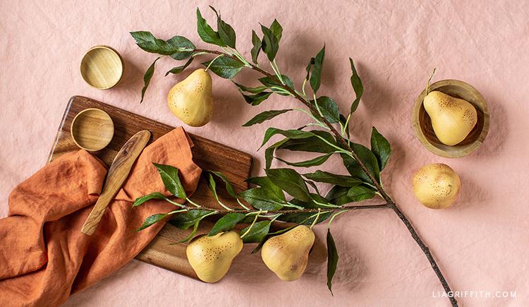 crepe paper pear branch