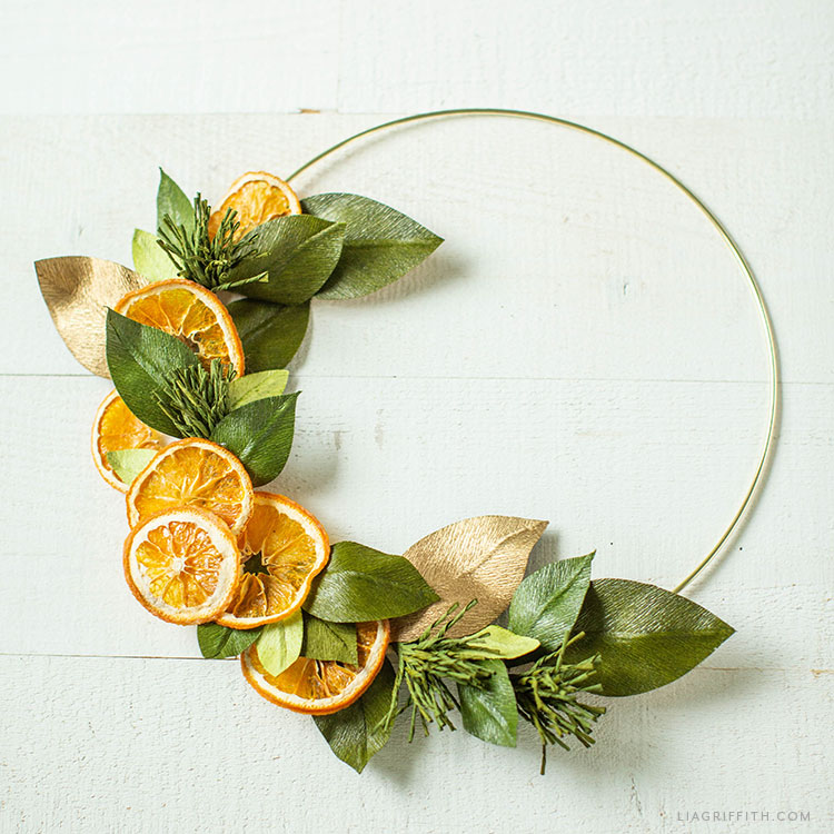 dried orange and crepe paper wreath