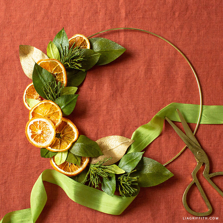 dried orange crepe paper wreath