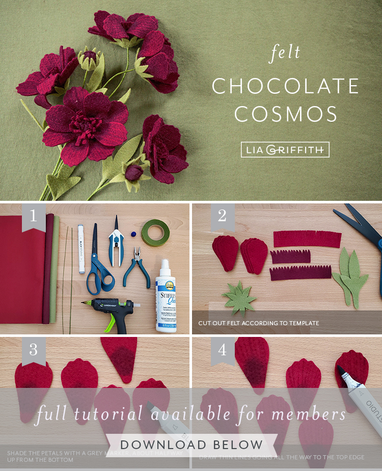 Photo tutorial for felt chocolate cosmos by Lia Griffith