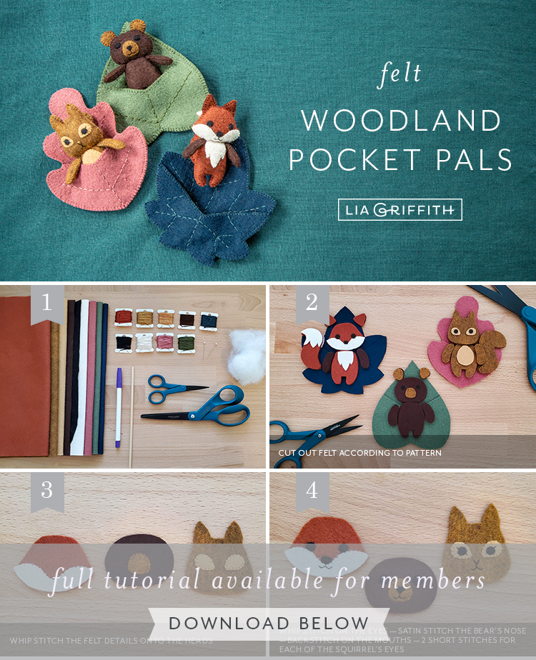 Photo tutorial for felt woodland pocket pals by Lia Griffith