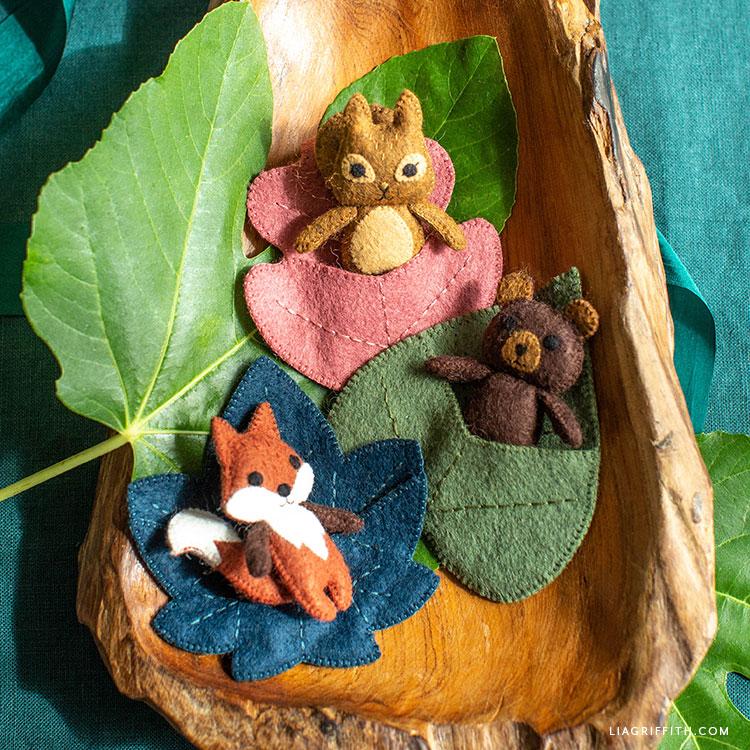 handmade felt woodland pocket pals