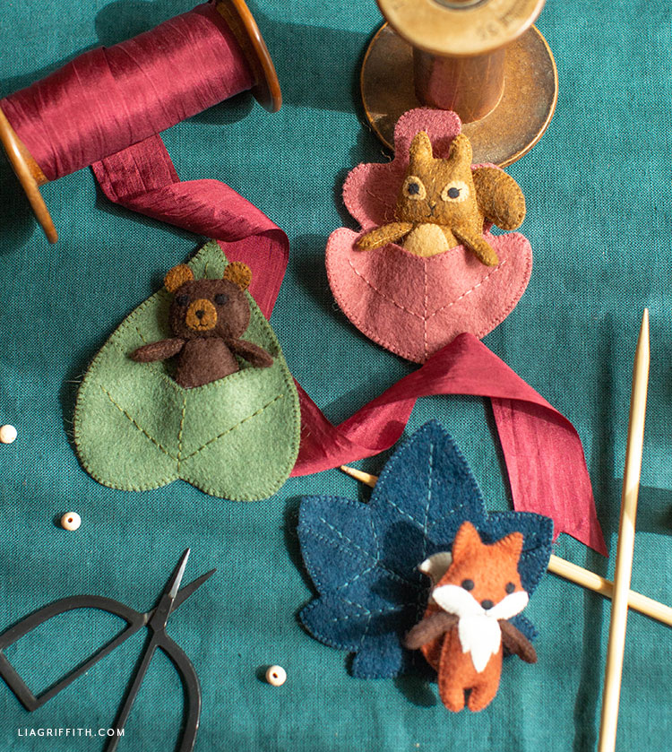 felt woodland pocket pals - bear, fox, and squirrel