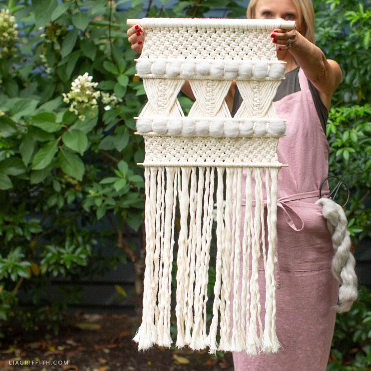 wool and macrame wall hanging
