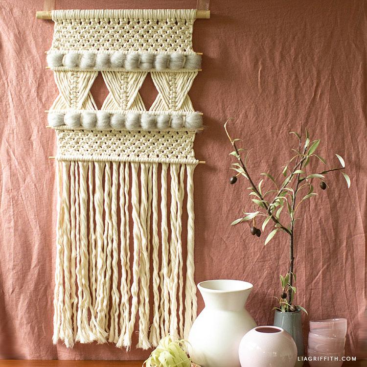 DIY wool macrame wall hanging