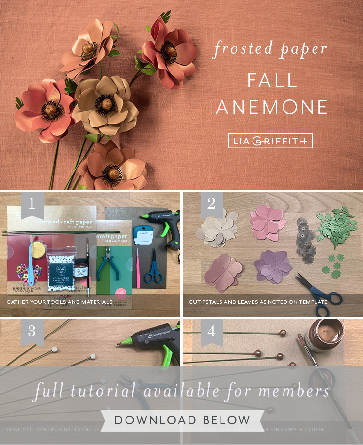 photo tutorial for frosted paper fall anemone by Lia Griffith