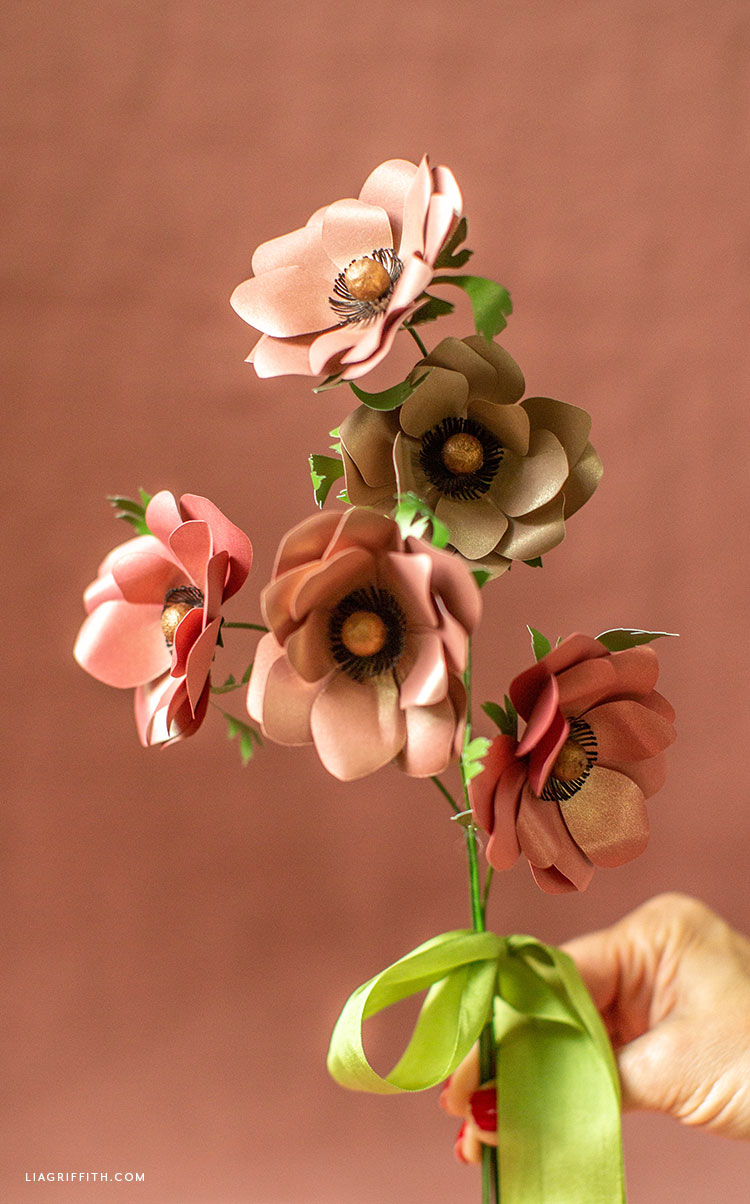 frosted paper fall anemone bouquet