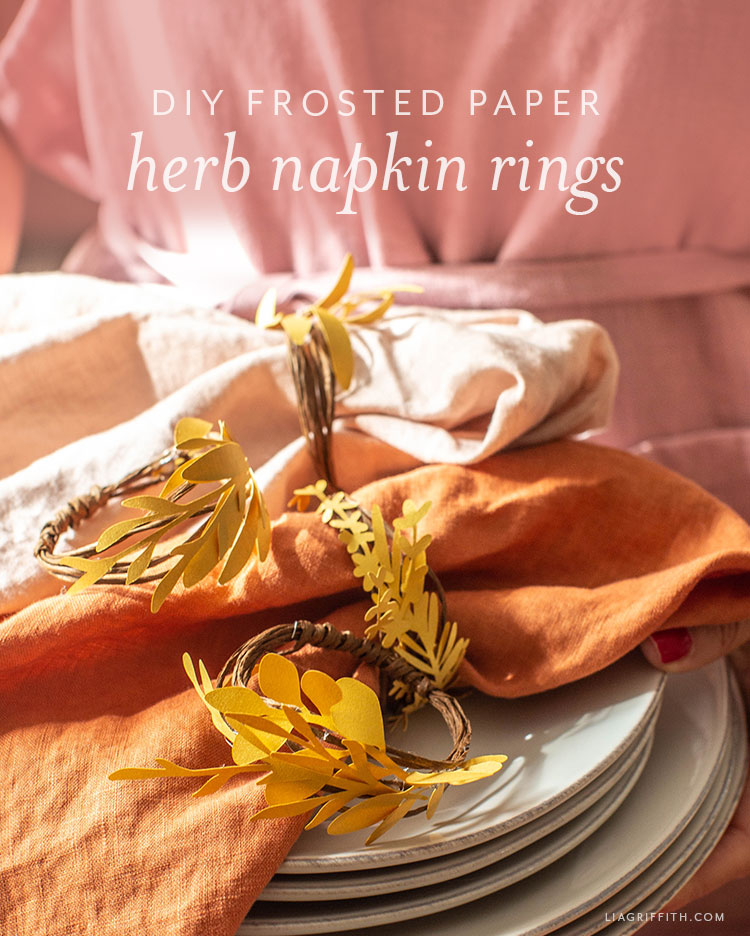 DIY frosted paper herb napkin rings
