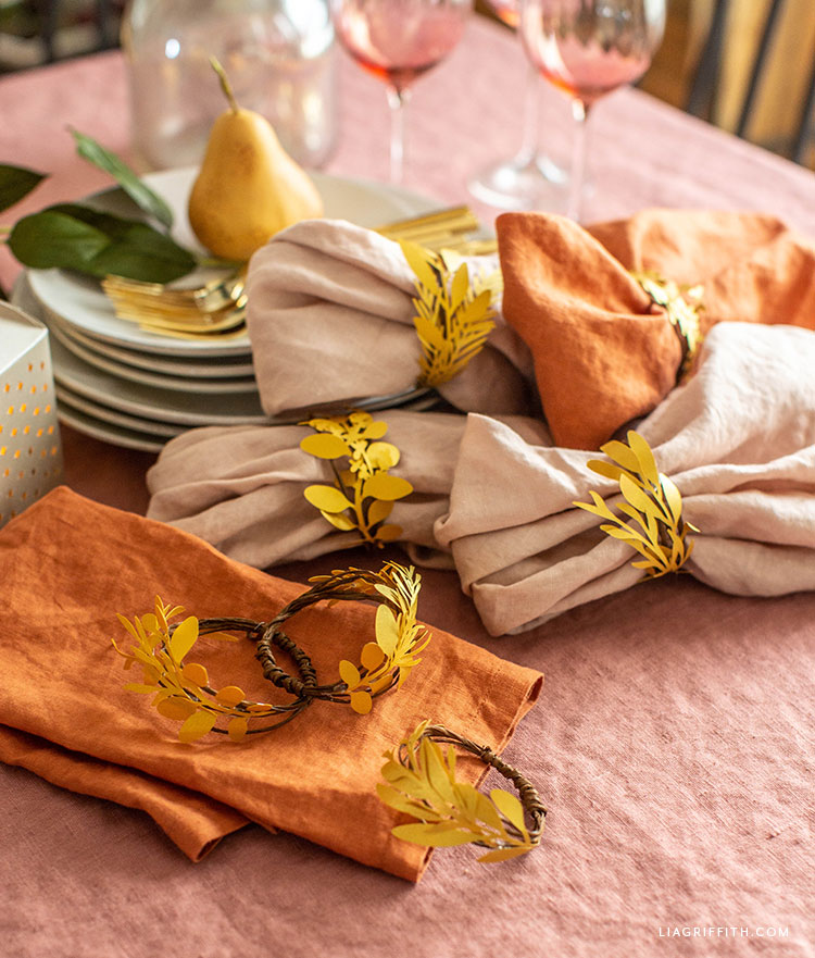DIY paper herb napkin rings
