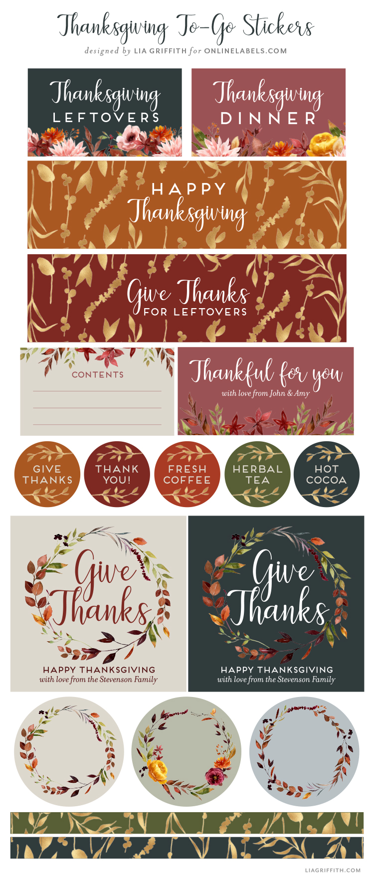 printable Thanksgiving labels by Lia Griffith