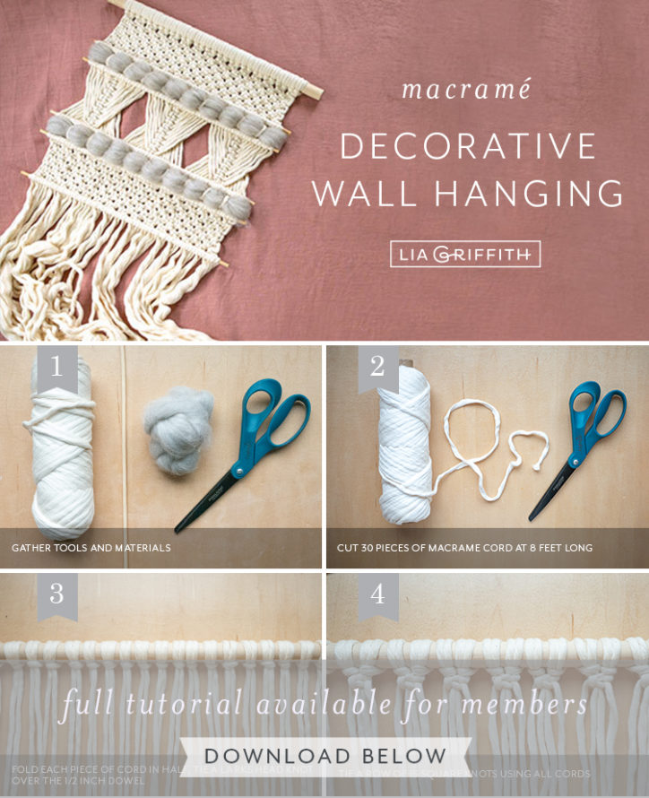 photo tutorial for wool macrame decorative wall hanging by Lia Griffith