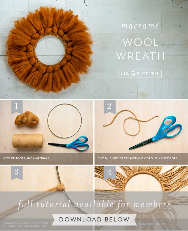 photo tutorial for macrame wool wreath by Lia Griffith