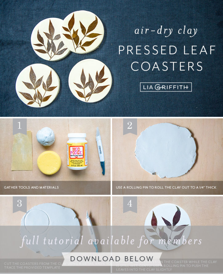 photo tutorial air-dry clay pressed leaf coasters by Lia Griffith