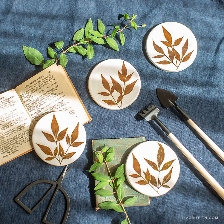 Pressed Leaf Clay Coasters Diy Tutorial Lia Griffith