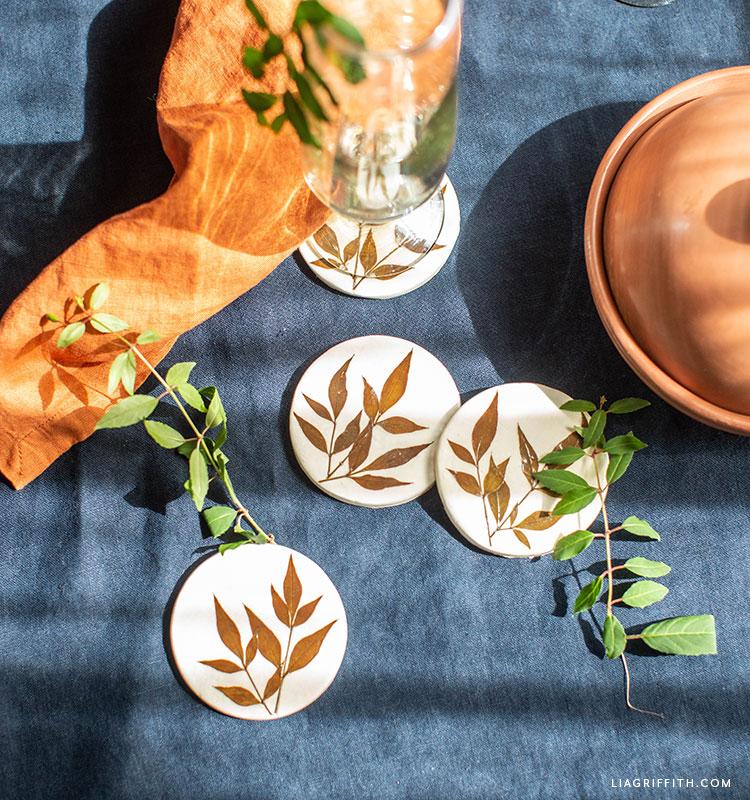 handmade pressed leaf clay coasters