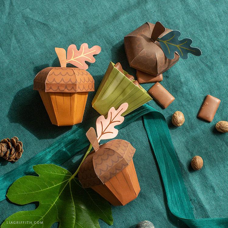 printable acorn treat boxes