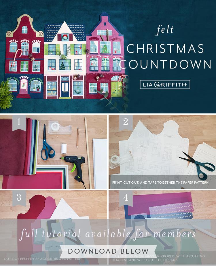 Felt Christmas countdown tutorial by Lia Griffith