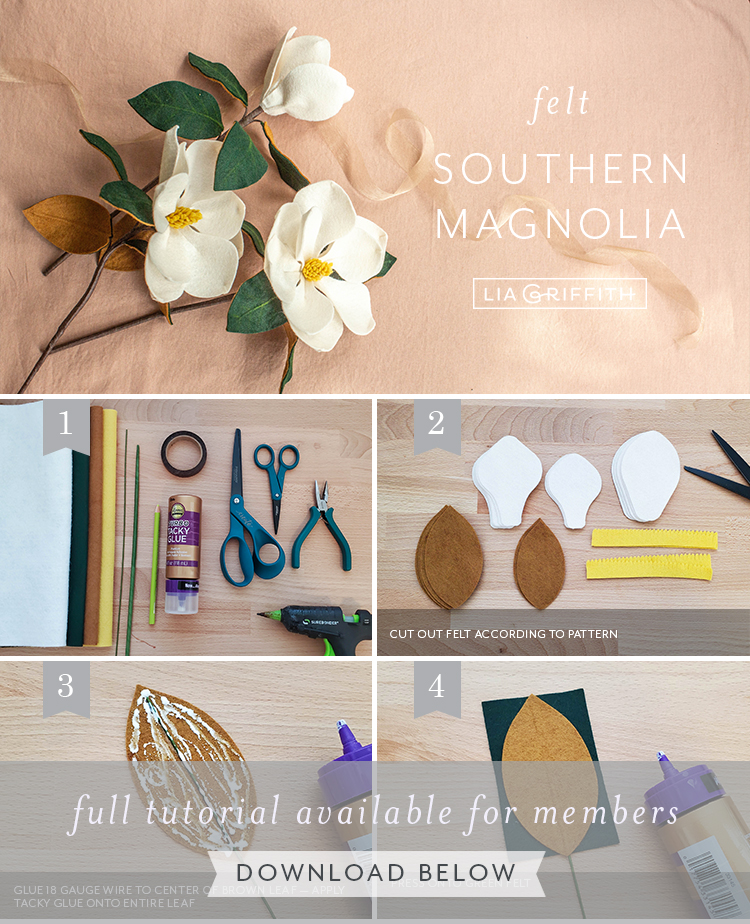 Photo tutorial for felt southern magnolias by Lia Griffith