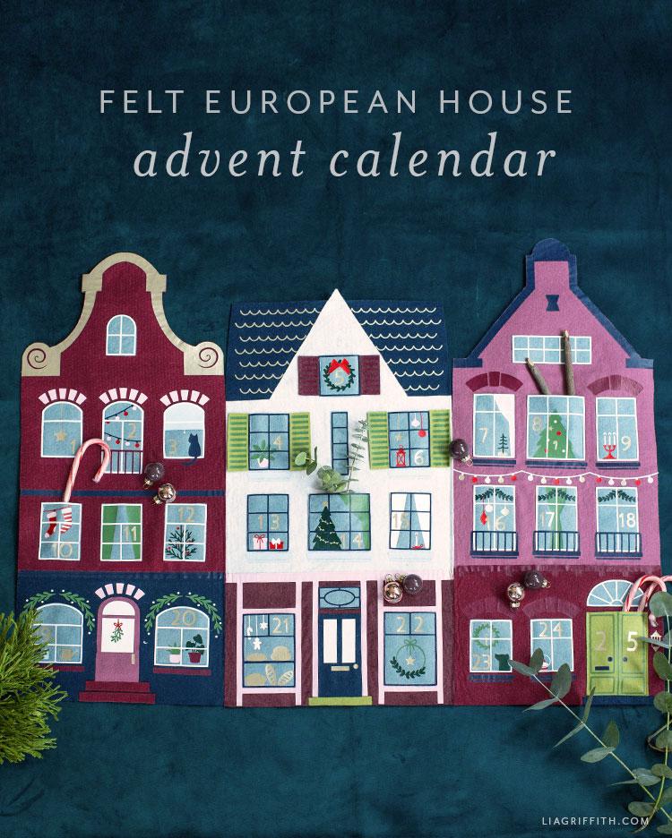 felt European house advent calendar