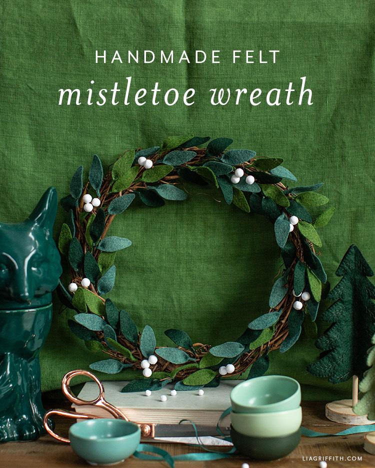 handmade felt mistletoe wreath