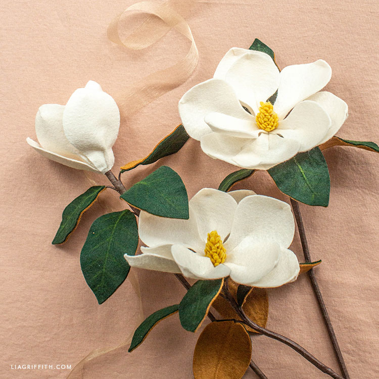 felt southern magnolia stems