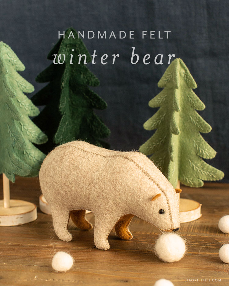 handmade felt winter bear