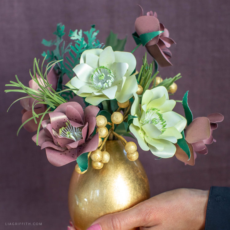 frosted paper hellebore flower bouquet