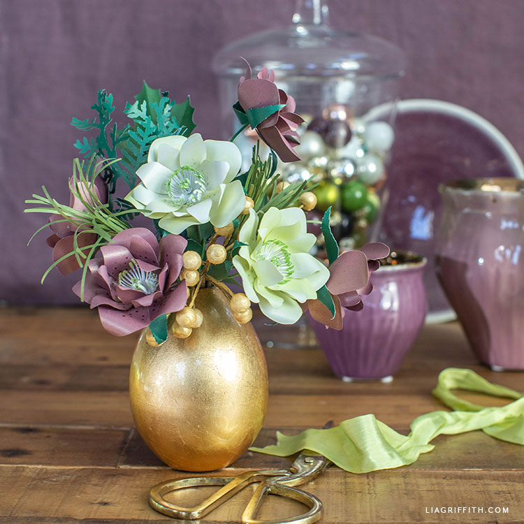 DIY frosted paper hellebore bouquet